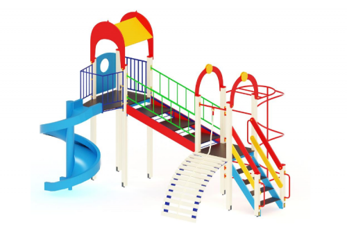 Детский игровой комплекс «Рада» (100), винтовой скат H=2000