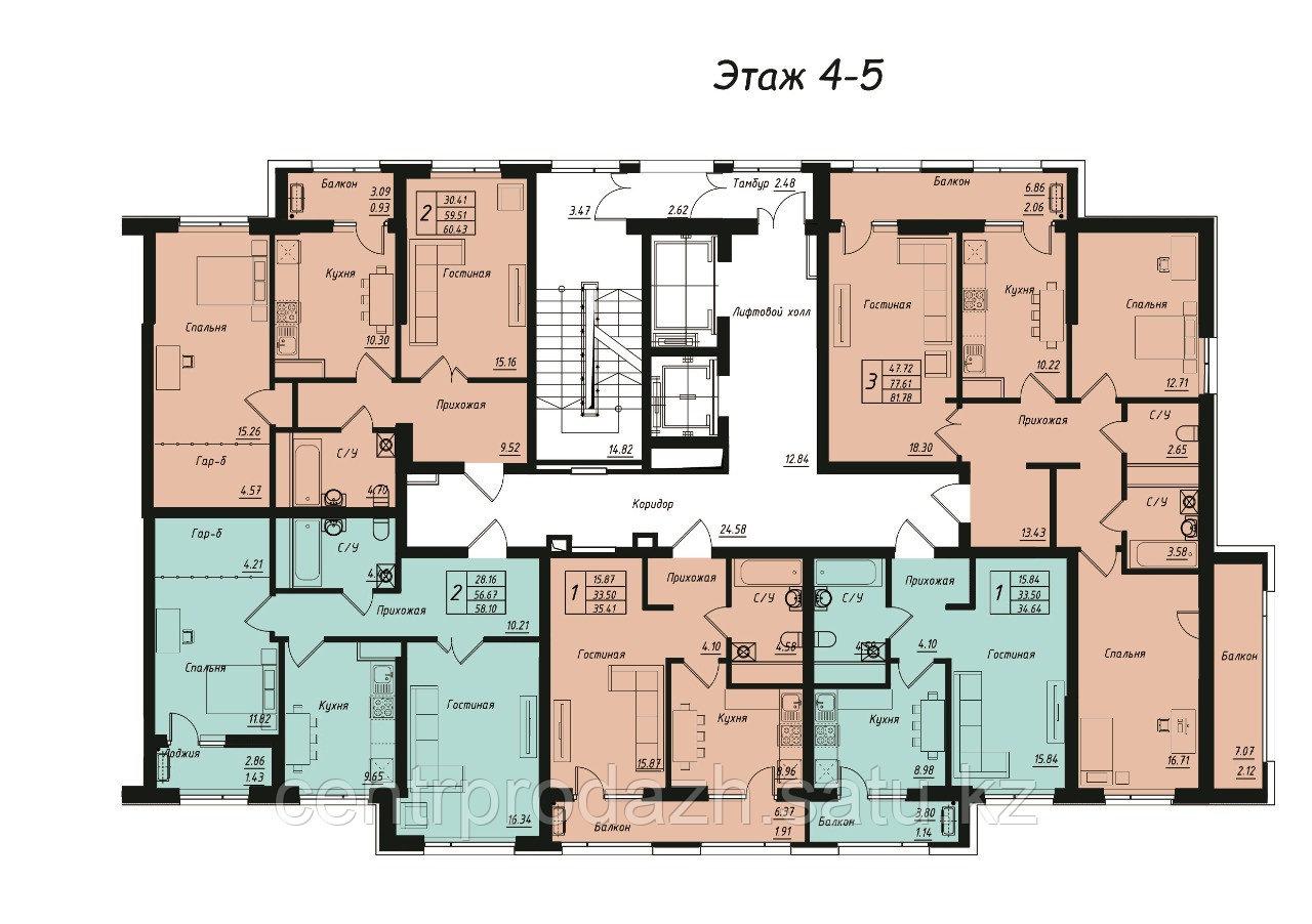 1 комнатная квартира в ЖК Jeruiyq 34.64 м²