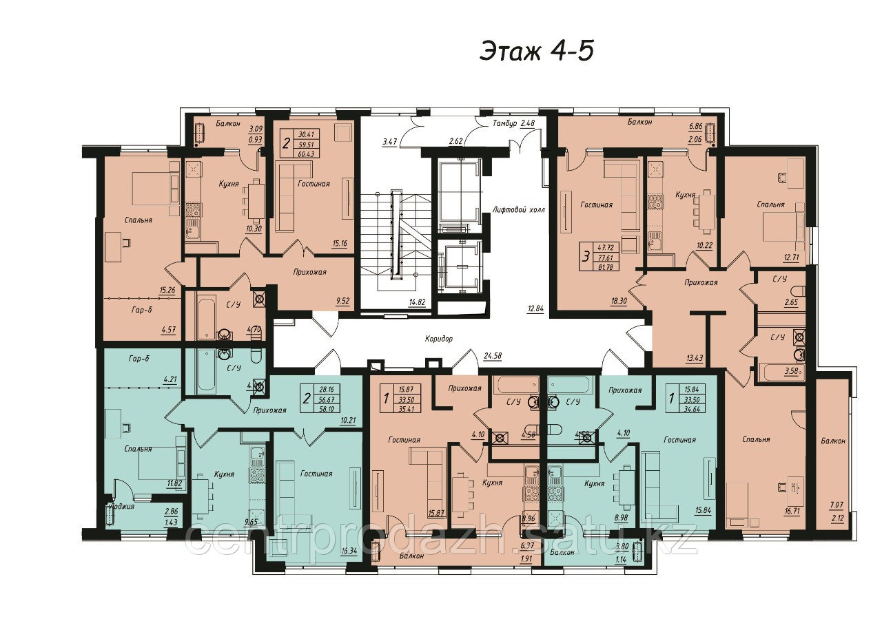 2 комнатная квартира в ЖК Jeruiyq 60.43 м²