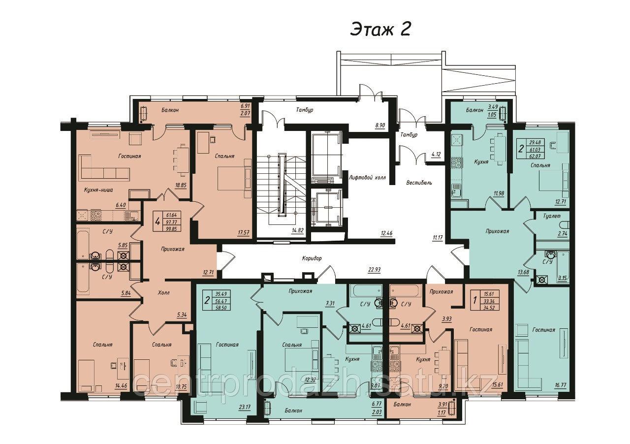 4 комнатная квартира в Jeruiyq 99.85 м²