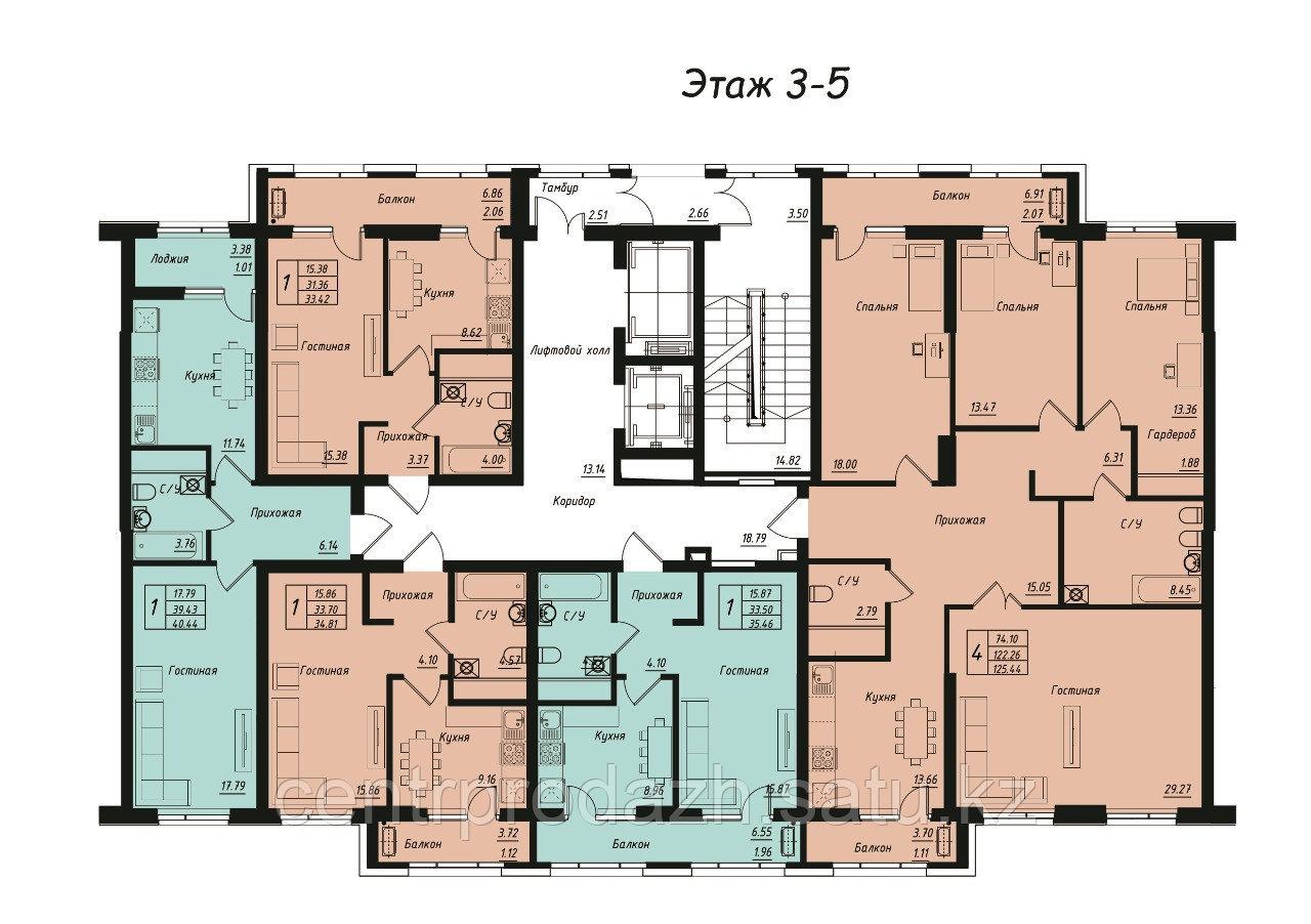 4 комнатная квартира в Jeruiyq 125.44 м²