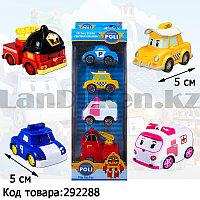 Набор машинок миниатюрных игрушечных для детей из серии Робокар Поли 4 героя в комплекте Поли Кэп Эмбер Рой