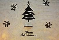 """Подарочная коробка """"Новогодняя"""" (с крышкой, елочка и снежинки), фото 3"""
