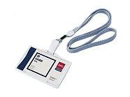 Бейдж горизонтальный DELI, 95x68 мм, пластиковый, на шнурке, серый