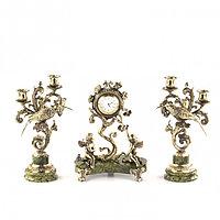 """Каминные часы с канделябрами """"Колибри"""" из бронзы и змеевика"""