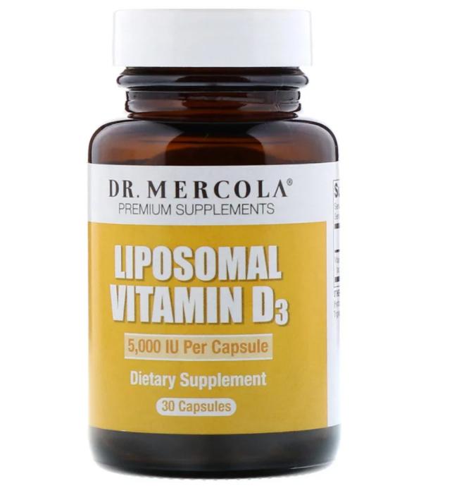Dr. Mercola, липосомальный витамин D3, 5000 МЕ, 30 капсул