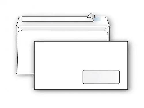 Конверт Е65 Ряжская печатная фабрика (110х220 мм, белый, удаляемая лента, правое окно 45х90 мм)