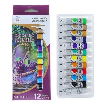 Краски акриловые, 12 цветов, в пластиковой тубе, 12 мл, в картонной коробке