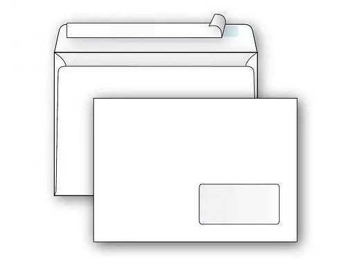 Конверт С5 (162х229 мм, белый, удаляемая лента, окно 45х90 мм)