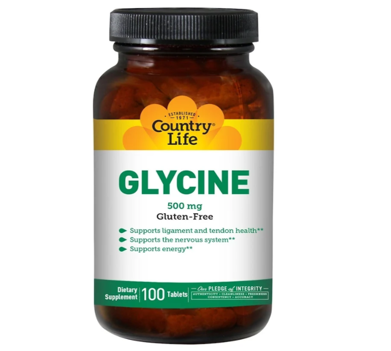 Country Life, Глицин, 500 мг, 100 таблеток