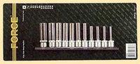 3112 3/8 дюйма Набор FORCE длинная головок на планке Е4-Е18, 11 предметов