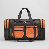 Сумка спортивная, отдел на молнии, с увеличением, 5 наружных карманов, длинный ремень, цвет хаки/оранжевый