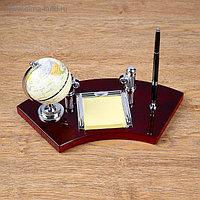 Набор настольный 4в1 (глобус, блок д/бумаги, подставка д/визиток, ручка), 18х35 см