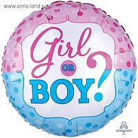 """Шар фольгированный 18"""" «Мальчик или девочка?», круг"""