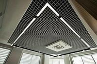 Ячеистый потолок Грильято Ермак Серый металик, 100х100 мм