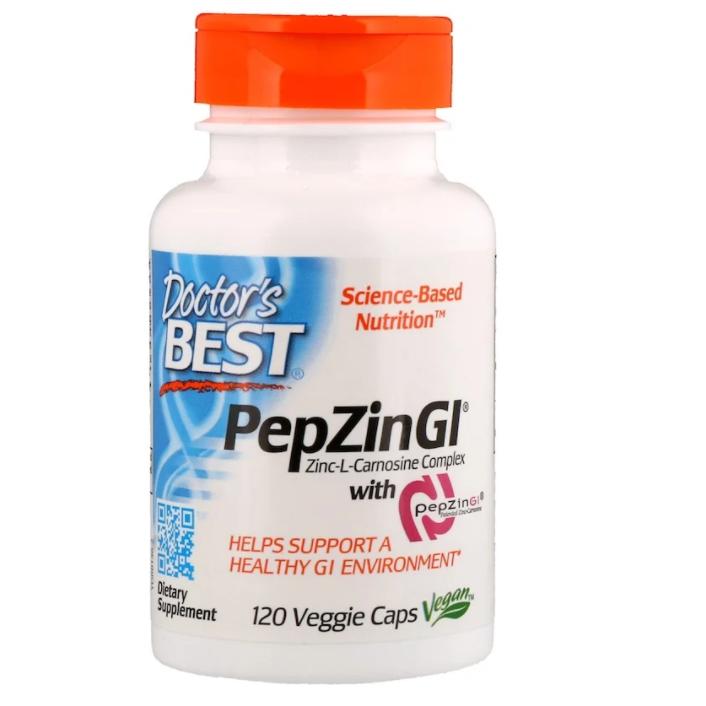 Doctor's Best, PepZin GI, комплекс цинк-L-карнозина, 120 растительных капсул