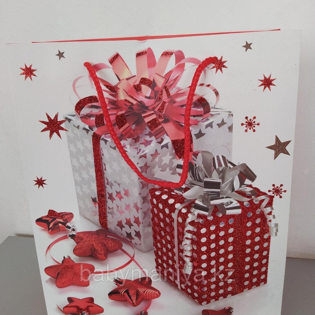 Пакет подарочный бумажный Новогодний 32*26*10 см