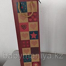 Пакет подарочный бумажный под бутылку 36*10*10 см