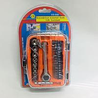 Набор головок и бит с ключом-трещоткой 27 предметов. XS-008/E