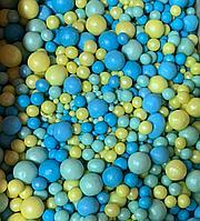 """Драже зерновое в цветной глазури """"Микс"""" 50 гр Голубой-желтый"""