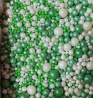 """Драже зерновое в цветной глазури """"Микс"""" 50 гр Бело-зеленый"""