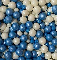 """Драже зерновое в цветной глазури """"Микс"""" 50 гр Бело-голубой крупный"""
