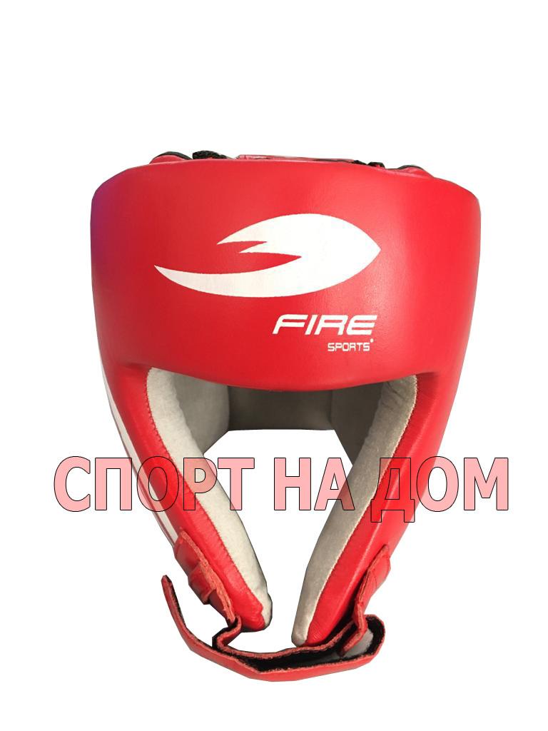 Боксерский шлем Fire Sport Mexico (кожа-красный, размер S)