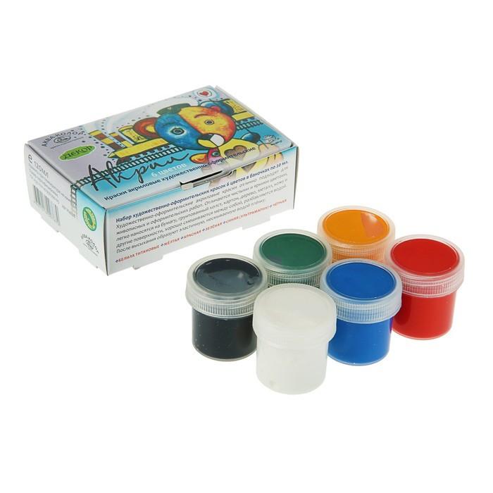 Краска акриловая, набор из 6 цветов по 20 мл, «Аква-Колор», художественно-оформительская, морозостойкая