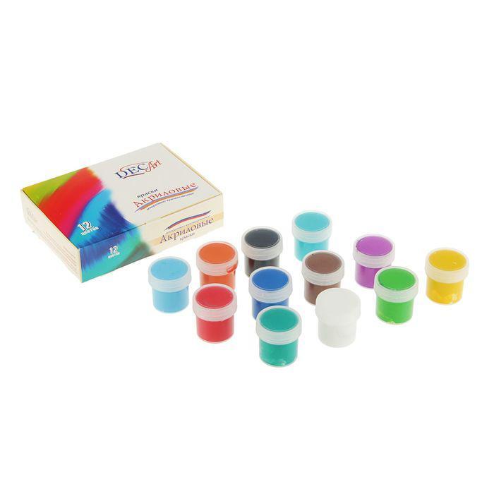 Краски акриловые DecArt набор из 12 цветов по 20 мл, Экспоприбор