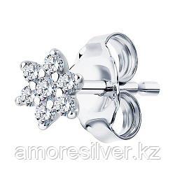 Серьга SOKOLOV серебро с родием, фианит  94170132