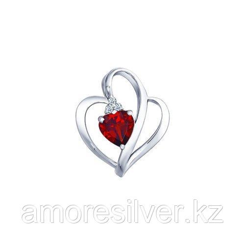 Подвеска SOKOLOV серебро с родием, гранат фианит  92030003