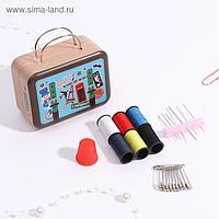 Набор для шитья, в металлической коробке, цвет МИКС
