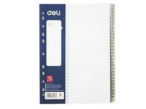 Разделитель пластиковый DELI (А4, 31 лист, серый)