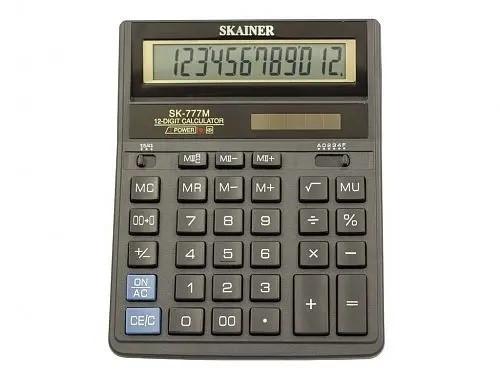 "Калькулятор настольный SKAINER ""777M"" (12 разрядный, Black)"