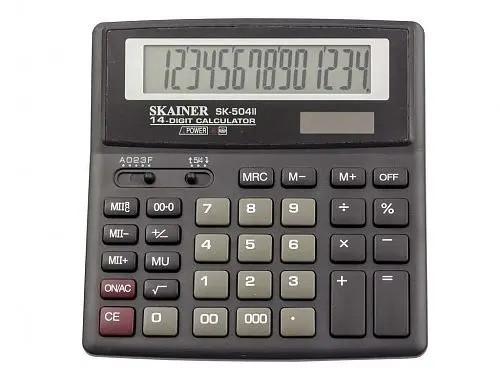 """Калькулятор настольный SKAINER """"504II"""" (14 разрядный, Black)"""