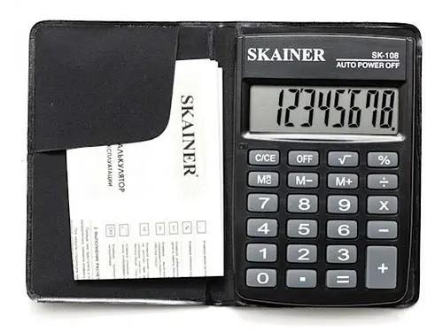 "Калькулятор карманный SKAINER ""108NBK"" (8-разрядный)"