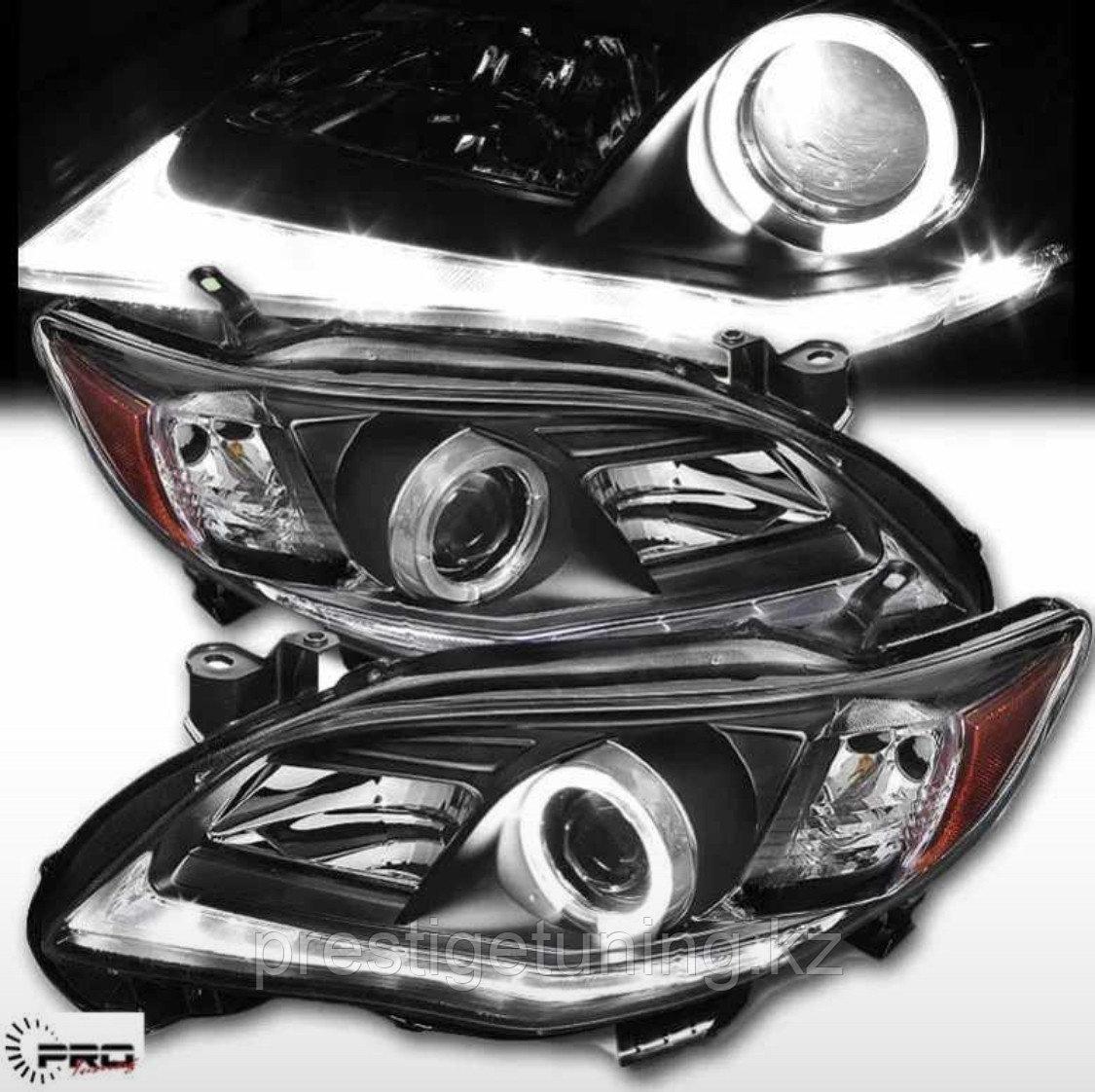 Передние фары на Toyota Corolla 2010-13 дизайн Angel Black color