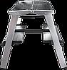 Стремянка двухсторонняя алюминиевая, широкая ступень 130 мм NV100, 2 ступени, фото 2