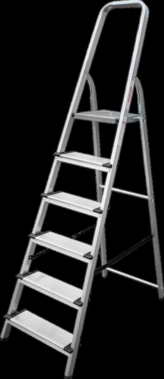 Стремянка алюминиевая, широкая ступень 130 мм, 6 ступеней