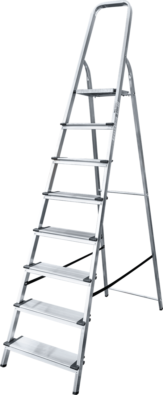 Стремянка алюминиевая, широкая ступень 130 мм, 8 ступеней