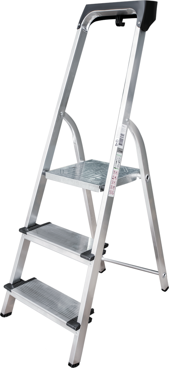 Стремянка алюминиевая 130 мм широкая ступень  с лотком органайзером, 3 ступени