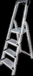 Стремянка алюминиевая, широкая ступень 130 мм с лотком органайзером, 4 ступени