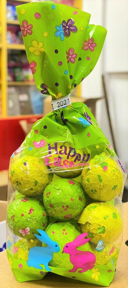 Кулёк Шоколадные яйца Зайчики 200гр