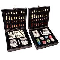 Подарочный набор: шахматы, покер, домино «Заядлый игрок» в деревянном кейсе (Шахматы и Домино)