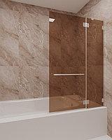 Стеклянная шторка на ванну бронза КС-100В