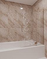 Стеклянная шторка на ванну с рисунком КС-100В