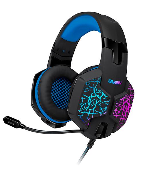 SVEN AP-U980MV Игровые стереонаушники с микрофоном черный-синий (USB, LED, 7.1)