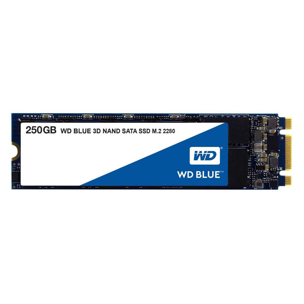 Накопитель твердотельный WD Твердотельный накопитель SSD WD Blue 3D NAND WDS250G2B0B 250ГБ M2.2280 SATA-III