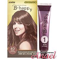 Sewha Интенсивная крем-краска для волос с эффектом ламинирования Тон 4G (нежно-коричневый) B-Happy
