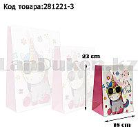 Пакет подарочный S(18х23) 3D иллюстрация для детей с блестками белого цвета с единорогом